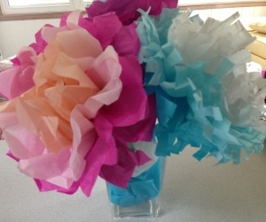 Tissue Paper flowers for Grandma