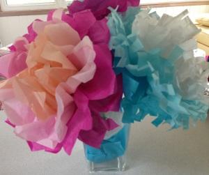 Tissue Paper flowers for Grandma